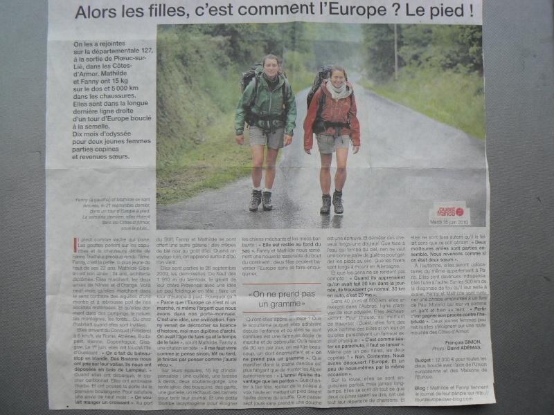 """Fanny et Mathilde ou l'Europe """"à pied sac à dos"""" P1160510"""
