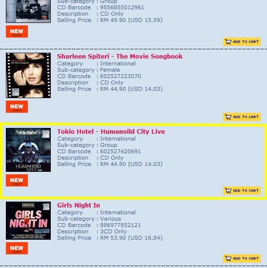 Humanoid City Live CD - Malaysian online order 123_bm10