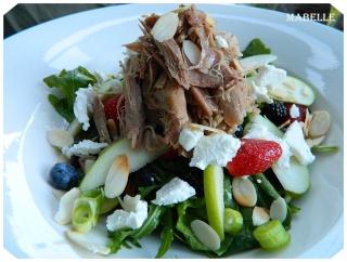 Salade de fruits du Québec au confit de canard et au chèvre Salade11