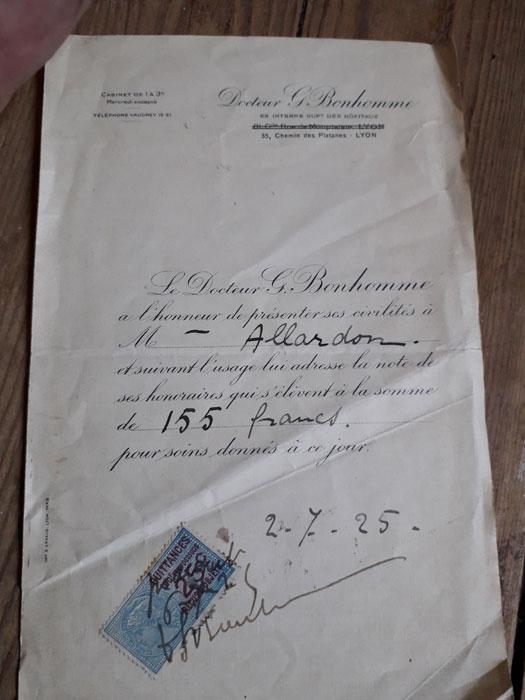 Facture du 2 juillet 1925 20180122