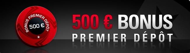 100% de bonus de bienvenue jusqu'à 500€ avec Pokerstars Header10