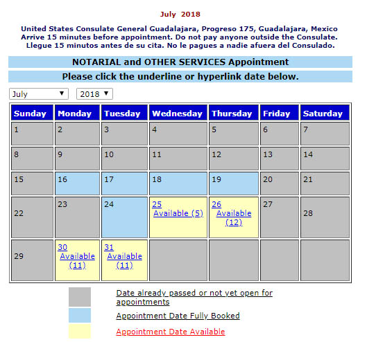 Appointment availability, US Consulate and Visas at Mexican Consulates Us_con10
