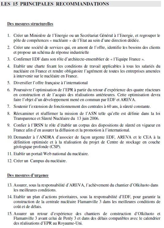 15 Principales recommandations du Rapport Roussely 15-poi10