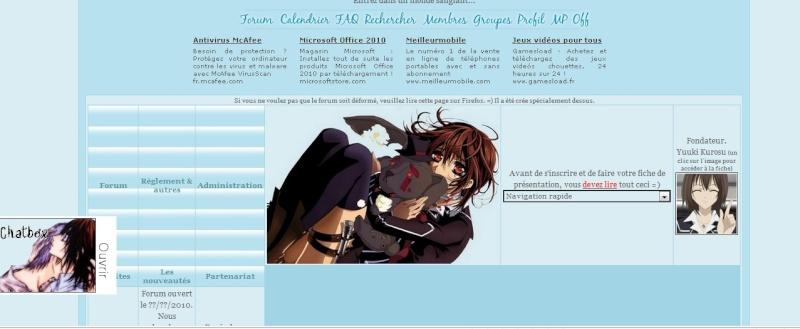 Page d'accueil déformée avec Internet Explorer. /!\ Explor10