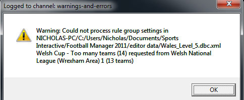 level - Welsh Leagues down to Level 5 Error10