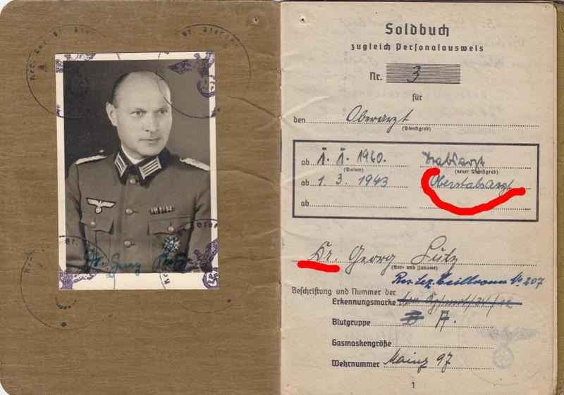 Soldbuch  Oberstabsartz - Médecin-Major - Campagnes de France et de Russie 111