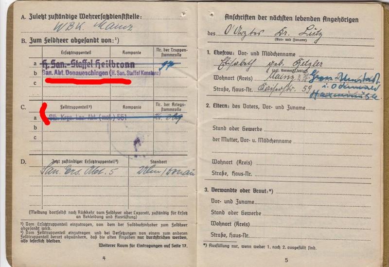 Soldbuch  Oberstabsartz - Médecin-Major - Campagnes de France et de Russie 311