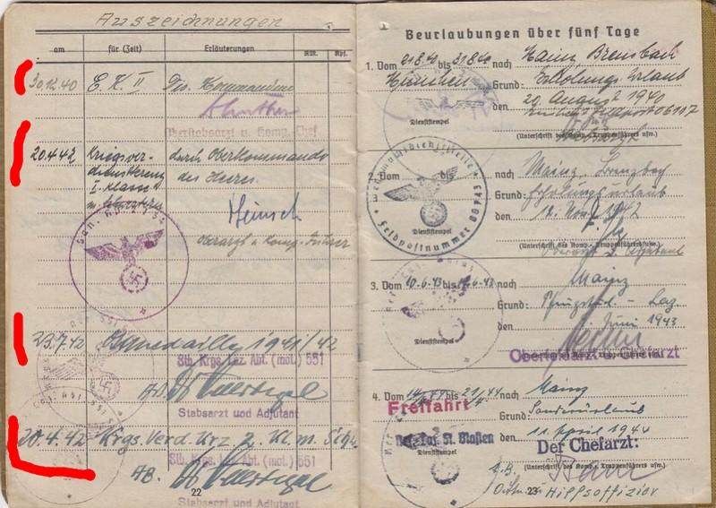 Soldbuch  Oberstabsartz - Médecin-Major - Campagnes de France et de Russie 811