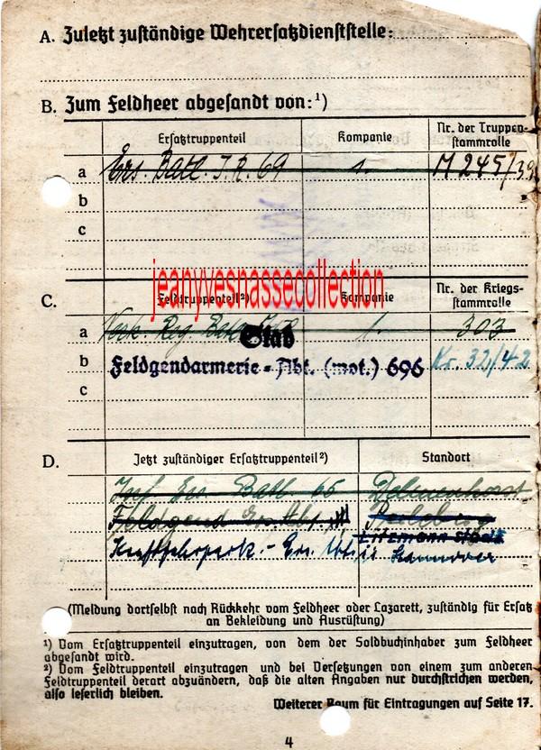 Soldbuch Feldwebel Feldgendarmerie-Abteilung (mot 696) Russie Grèce Croatie D411