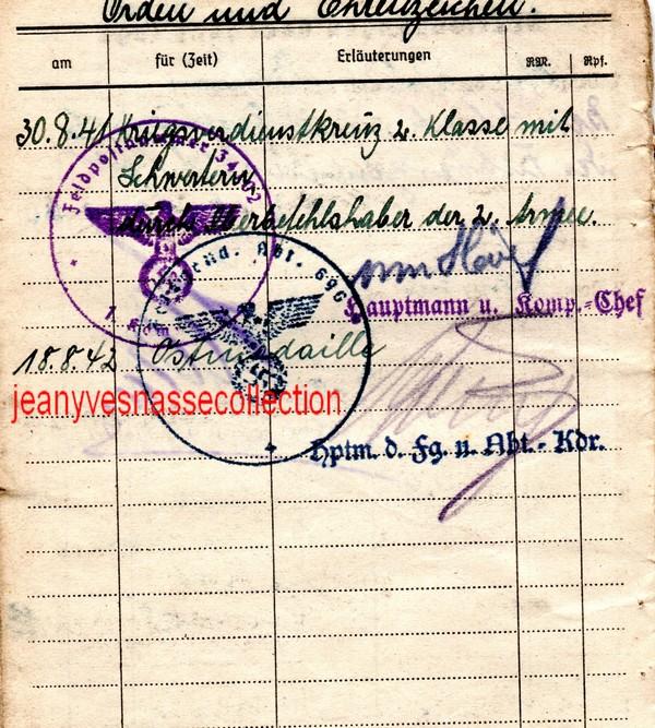 Soldbuch Feldwebel Feldgendarmerie-Abteilung (mot 696) Russie Grèce Croatie I11