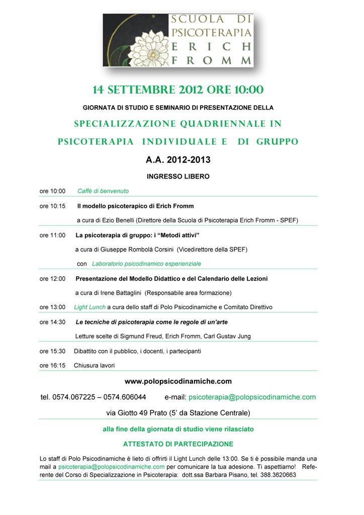 Presentazione della Scuola di Psicoterapia Erich Fromm A.A. 2012-2013 Semina10