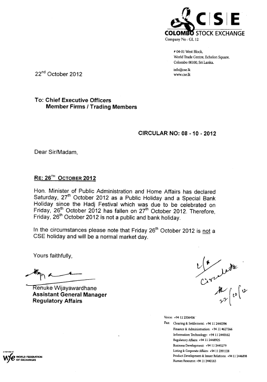 22-Oct-2012 Circular RE: Friday the 26th of October 2012 being a Market Day  Cse11