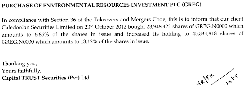 24-Oct-2012 Disclosure by Capital Trust Securities (Pvt) Ltd - Re: GREG Greg11