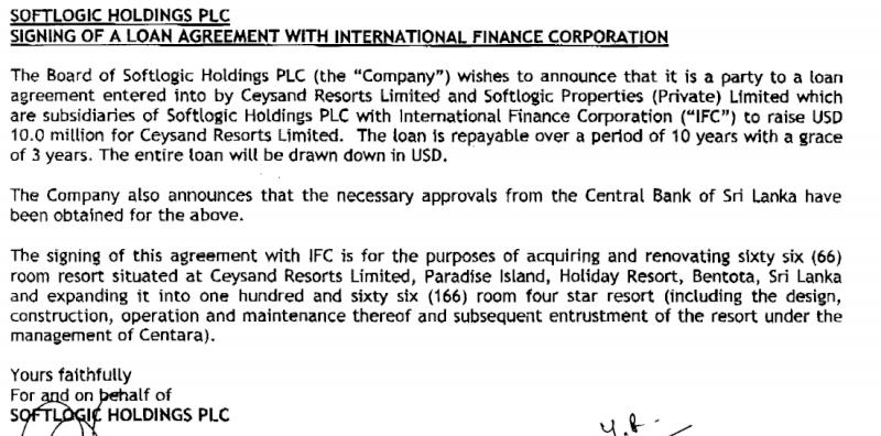 Sri Lanka hotel gets US$10mn IFC loan Soft11