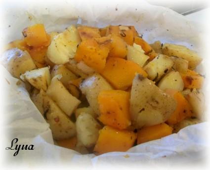 Pommes de terre et courge butternut en papillote Pommes12