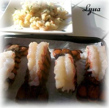 Queues de homard farcies aux crevettes Queue_11