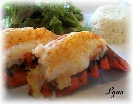 Queues de homard farcies aux crevettes Queue_12
