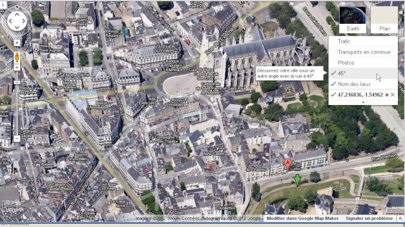 Google Maps : des villes en VERITABLE 3D (45°) Nantes10