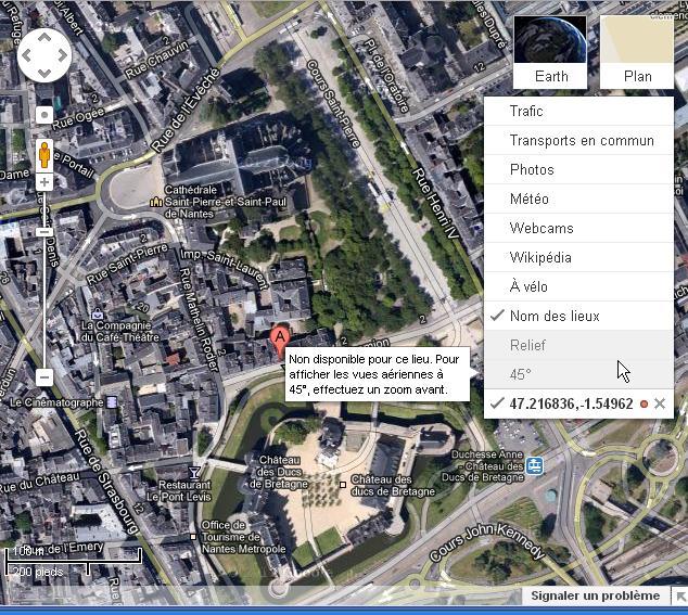 Google Maps : des villes en VERITABLE 3D (45°) Nantes12