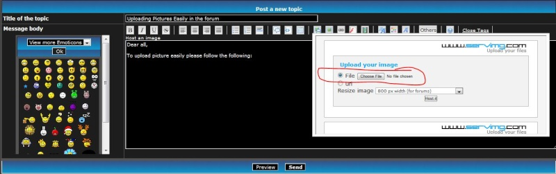 Uploading Pictures Easily in the forum 210