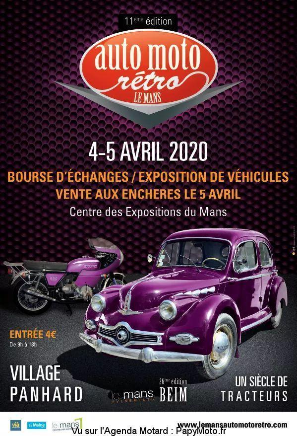 MANIFESTATION - Auto Moto Rétro - 4 & 5 Avril 2020 - Centre des Expo du Mans  11e-au10