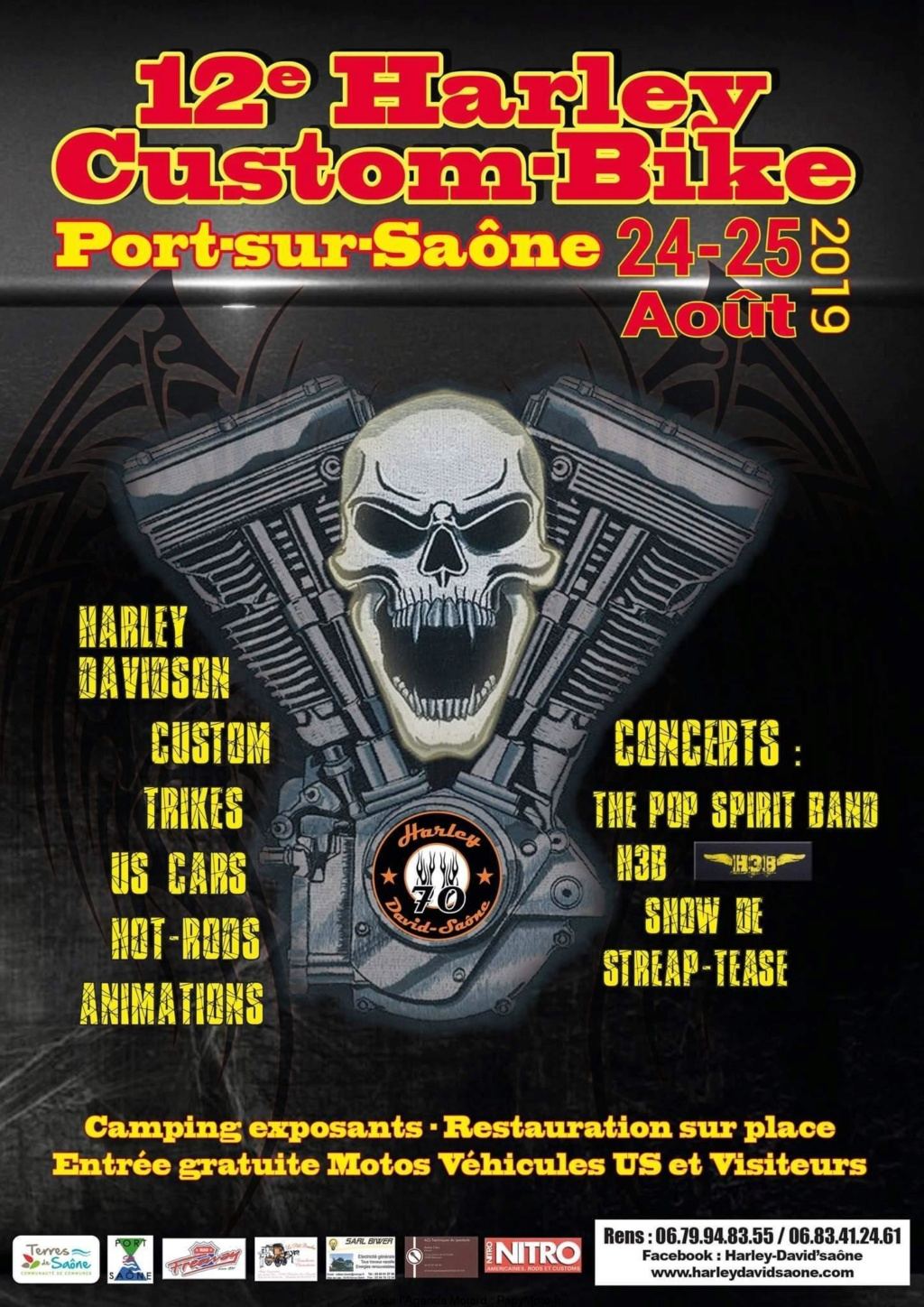 MANIFESTATION - Harley Custon Bike - 24 & 25 AOUT 2019 - Port -Sur -Saone (70) 12e-ha10