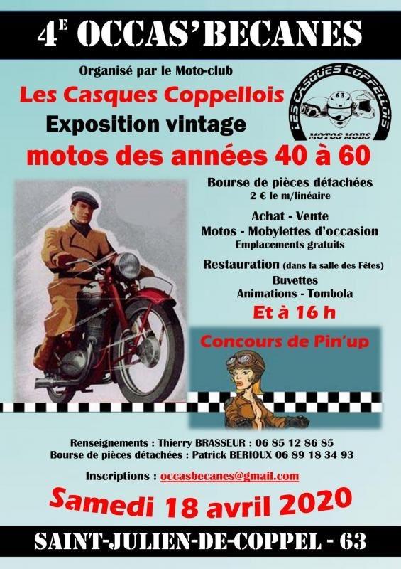 MANIFESTATION - 4ème Occas'Bécanes - Samedi 18 Avril 2020 - St Julien -  de - Coppel (63) 15827310