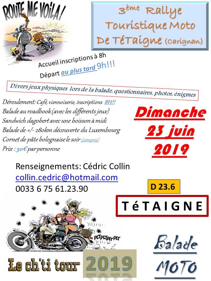 MANIFESTATION - Rallye Touristique Moto - Dimanche 23 Juin 2019 - Tétaigne  19012410