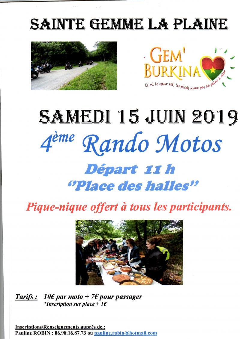 MANIFESTATION - Rando Motos - Samedi 15 Juin 2019 -Sainte Gemme La Plaine - Vendée (85) 19021710