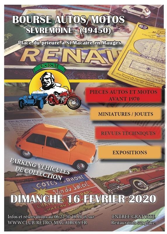 MANIFESTATION - bourse Autos Motos - Dimanche 16 Février 2020 - Sevremoine (49450) 2020_s10