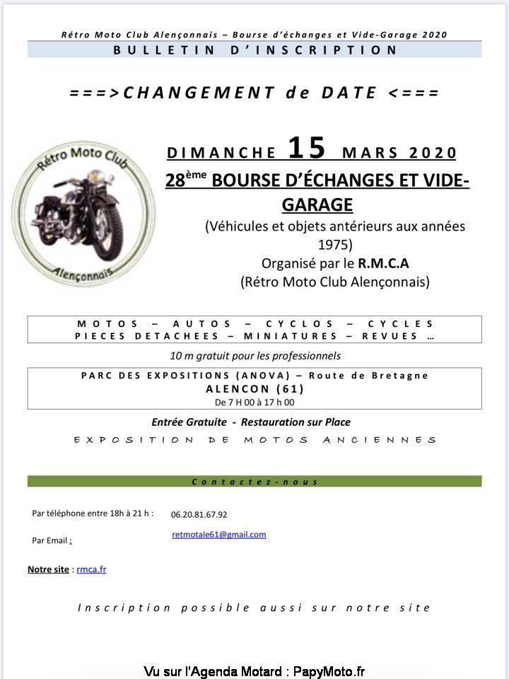 MANIFESTATION -  Bourse D'échanges Vide Garage - 15 Mars  2020 - Alençon (61) 28e-bo11