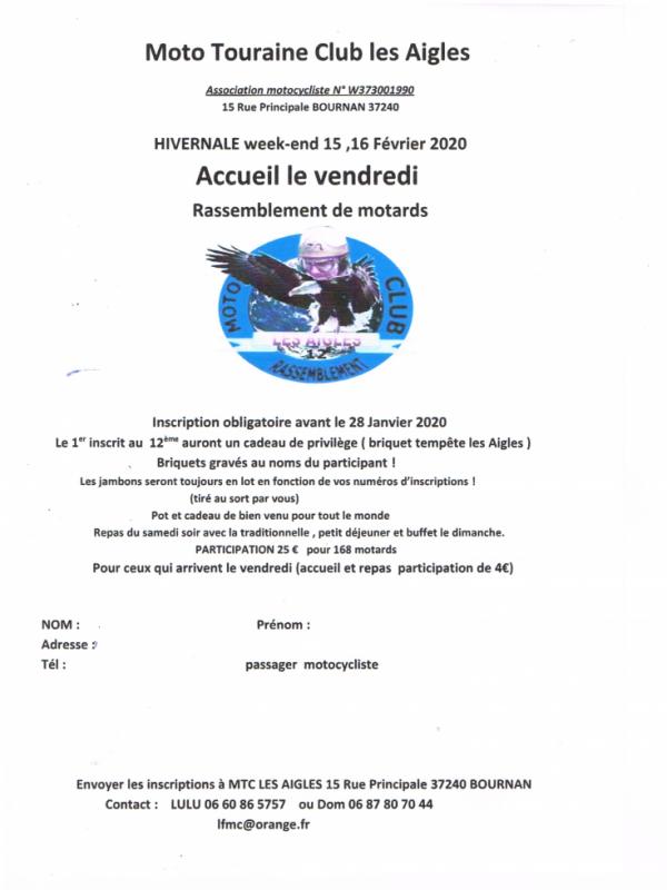 MANIFESTATION - Hivernale - 15 & 16 Février 2020 - Bournan (37240) 33275111