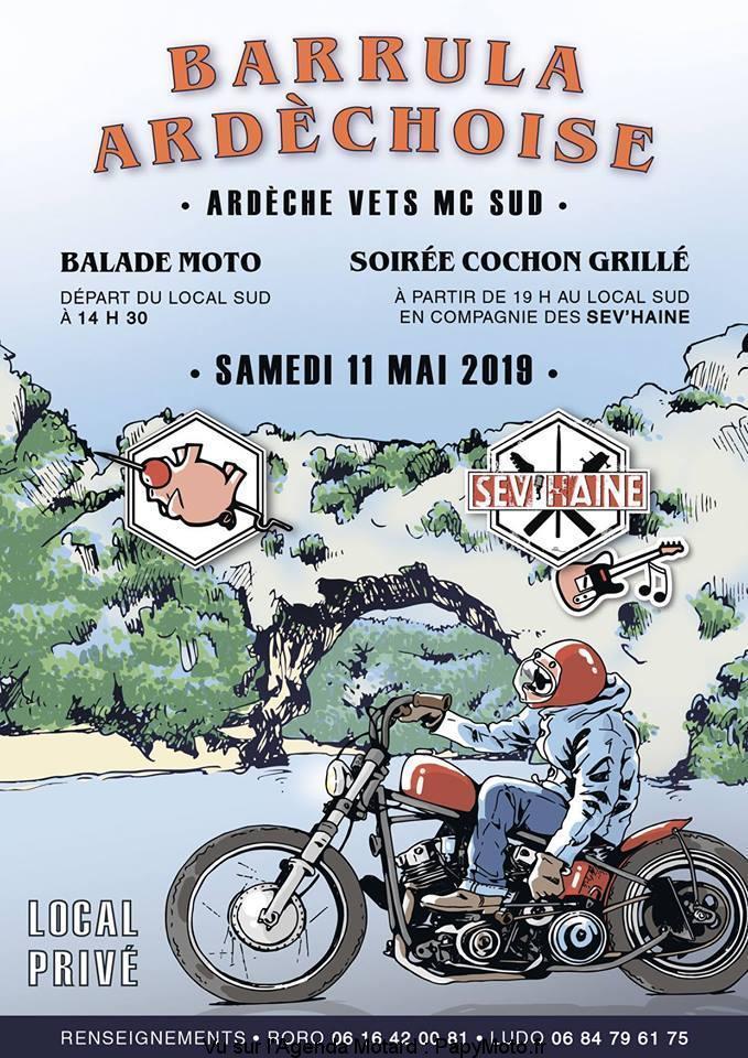 Barrula Ardèchoise - Balade Moto & Soirée cochon grillé - 11 Mai 2019 - Largentière (07) 56161310