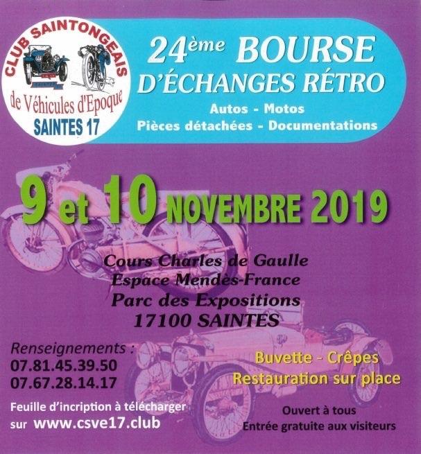 MANIFESTATION - 24ème Bourse D'échanges Rétro Autos-Motos - 9&10 Novembre 2019 - Saintes (17) 5db16810