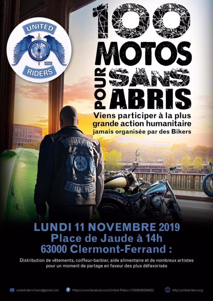 MANIFESTATION - 100 Motos pour Sans Abris - 11 Novembre 2019 - Clermont-Ferrand ( 63) 5db6cf10
