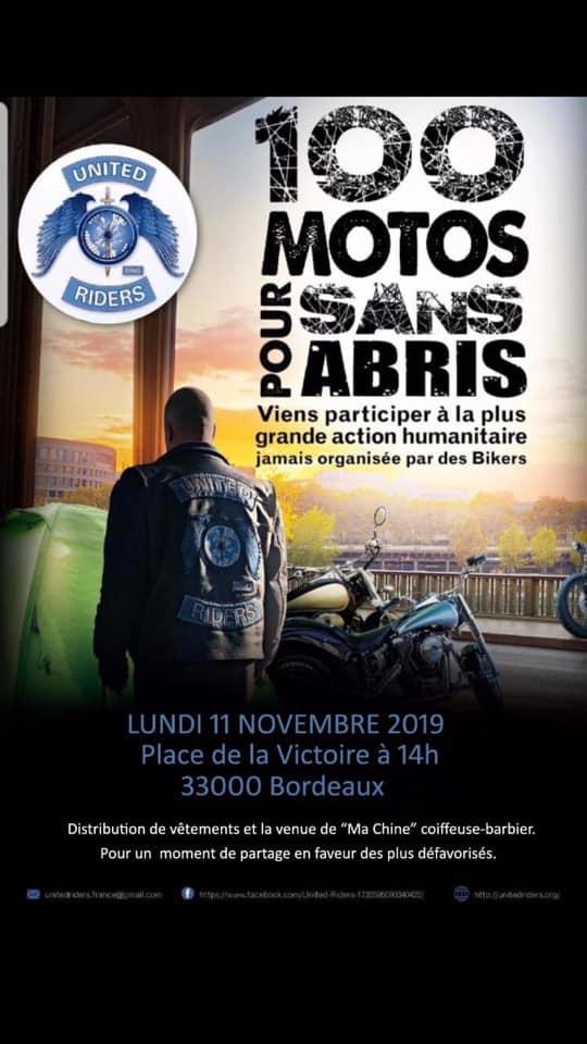 MANIFESTATION - 100 Motos Pour Sans Abris - 11 Novembre 2019 - Bordeaux (33000) 5db6d010