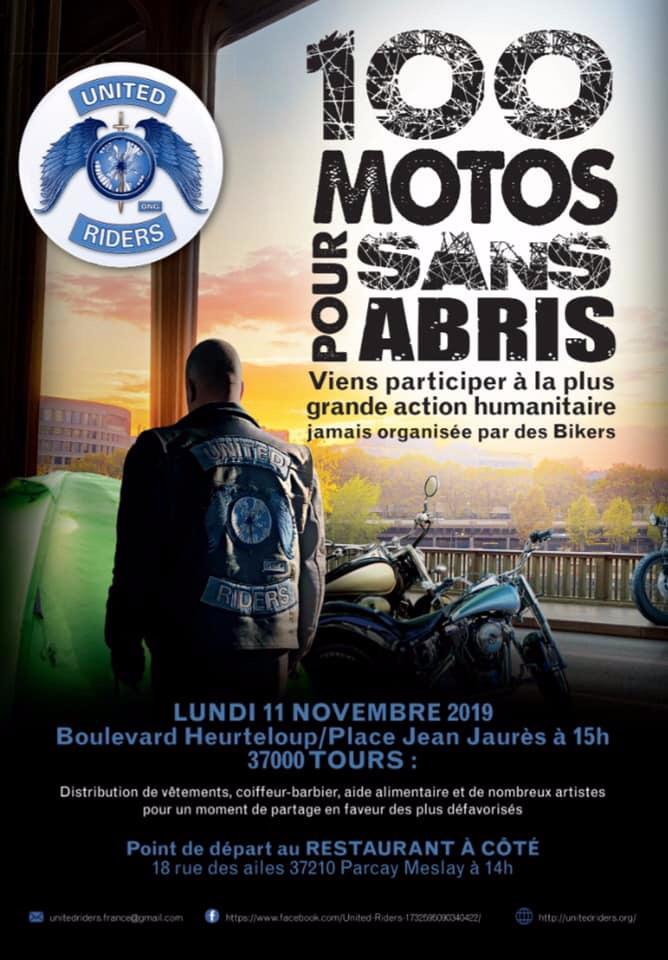 MANIFESTATION - 100 Motos Pour Sans Abris - 11 Novembre 2019 - Tours (37000) 5db6d210