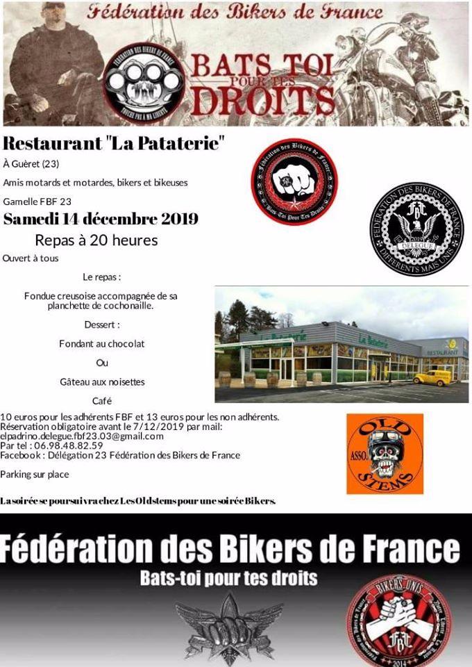 MANIFESTATION  - Fédération des Bikers de France - 14 Décembre 2019 - Guèret (23) 5de12d10