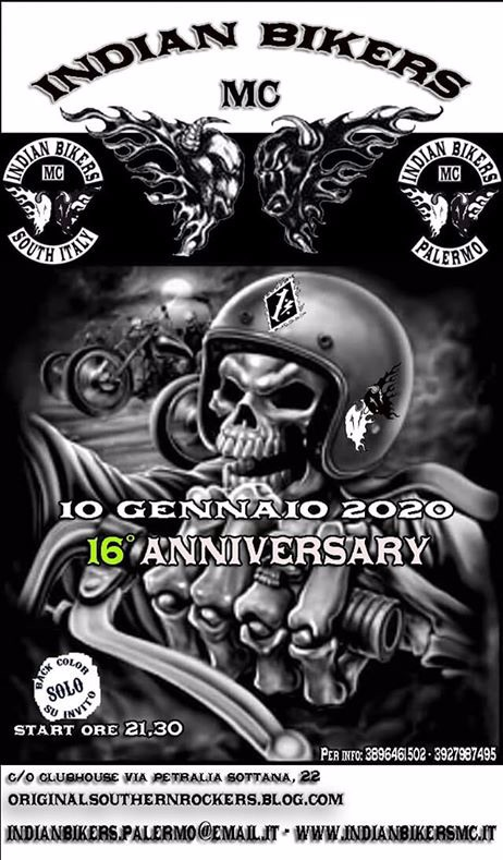 MANIFESTATION - 16ème Anniversary MC - 10 Janvier 2020 - Palermo (Italie 90135) 5de4e311