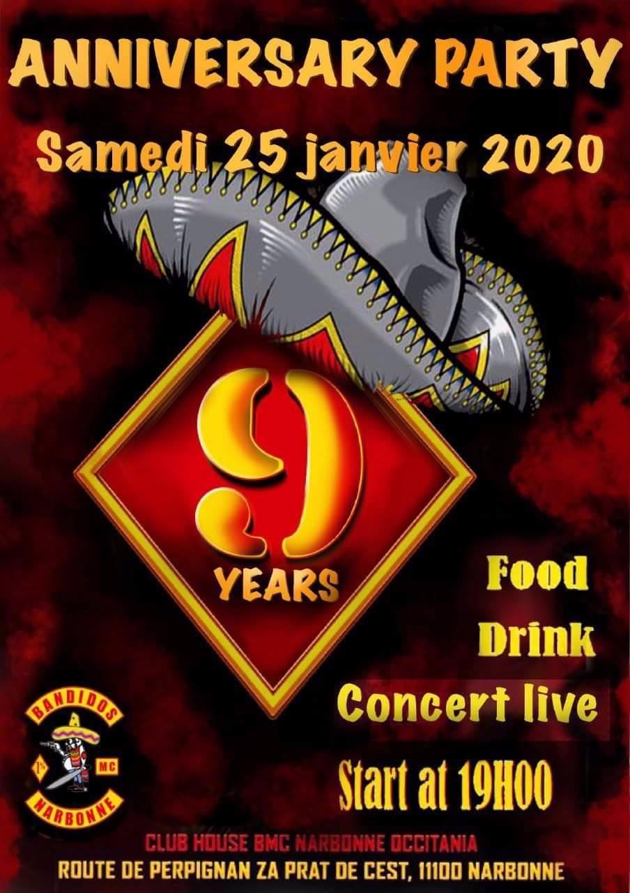 MANIFESTATION - Anniversary Party - 25 Janvier 2020 - Narbonne (11100) 5e014310