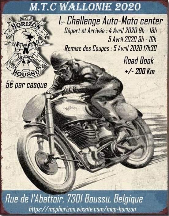MANIFESTATION - Challenge Auto - Moto Center - 4 & 5 Avril 2020 - Boussu (7301) Belgique  5e42eb11