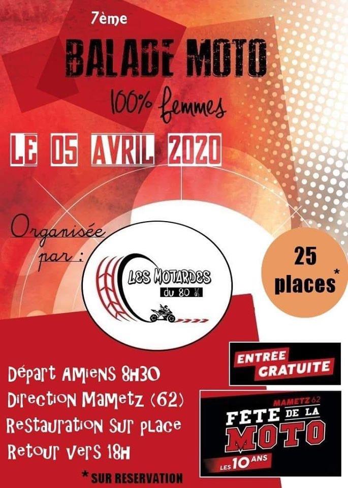 MANIFESTATION - 7ème Balade Moto 100%  Femmes - Dimanche 5 Avril 2020 - Départ Amiens   5e554311