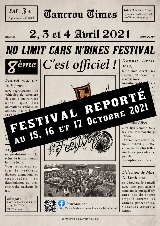 MANIFESTATION - No Limit Cars N'Bikes Festival - 15 - 16 - & 17 Octobre 2021 (77440) 6058b810