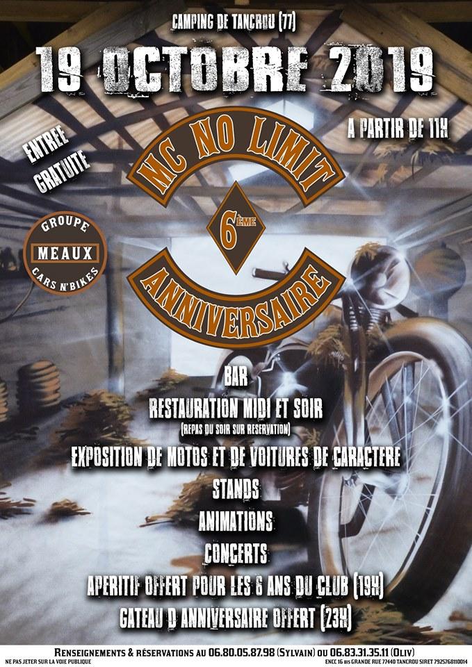 MANIFESTATION - Anniversaire MC  NO LIMIT - 19 Octobre 2019 - Camping De Tancrou (77) 70855810
