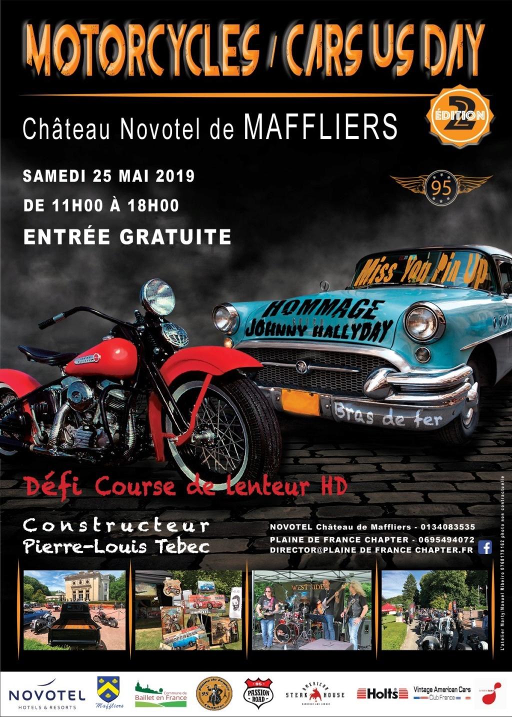 Motorcycles / Cars  US DAY - 25 Mai 2019 - Chateau Novotel de MAFFLIERS Affich36