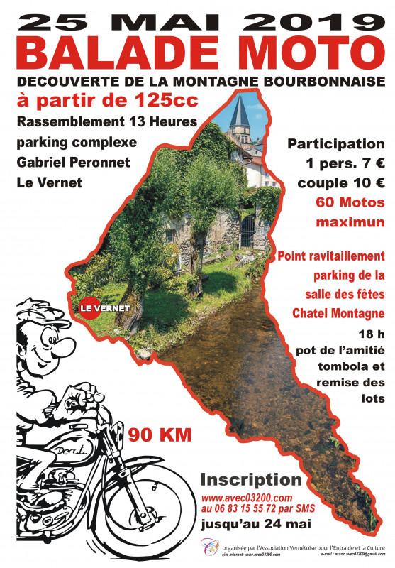 MANIFESTATION - Balade Moto - 25 Mai 2019 -  Le Vernet  Affich43