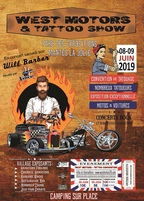 MANIFESTATION - west Motors & Tatoo Show - 8 & 9 Juin 2019 - Parc Expo Mantes La Jolie  Affich45