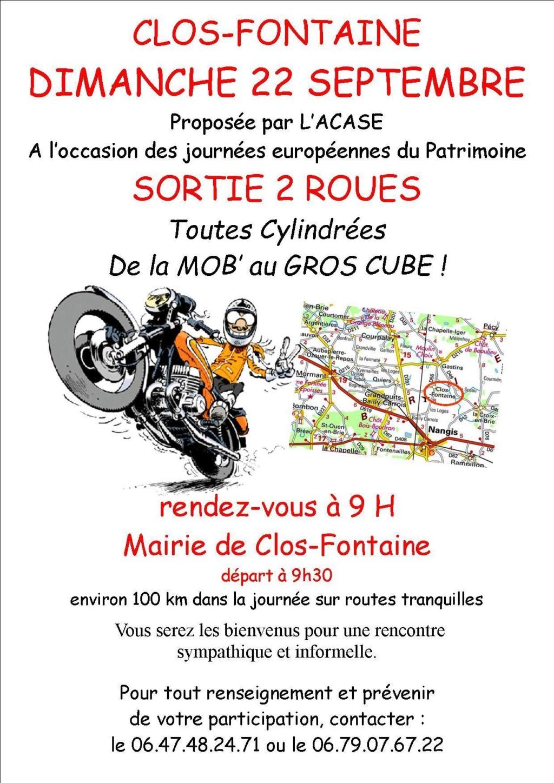 MANIFESTATION - Sorties 2 Roues - Dimanche 22 Septembre 2019 - Clos -  Fontaine  Affich53
