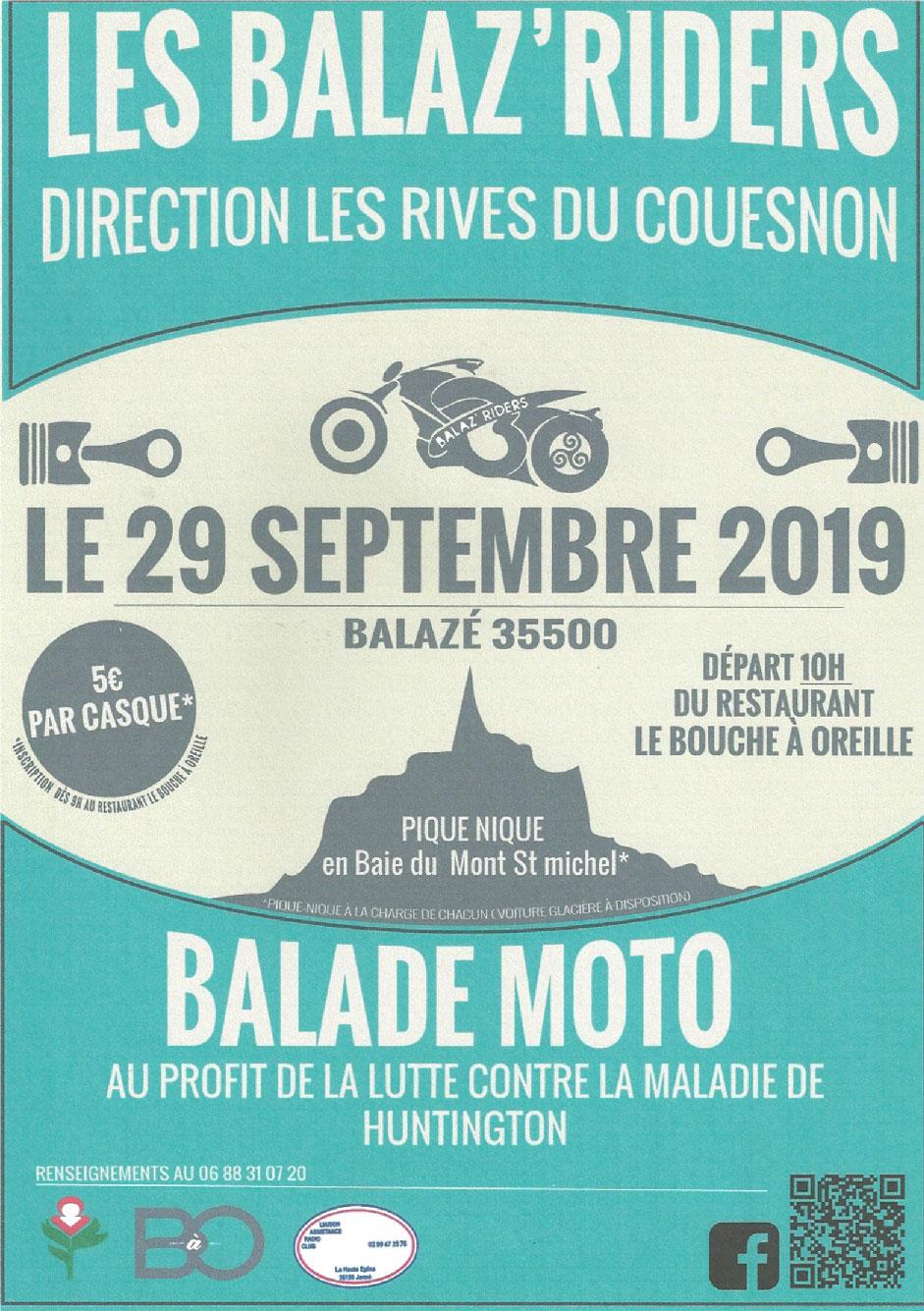 MANIFESTATION - Balade Moto - Dimanche 29 Septembre 2019 - Balazé (35500) Affich54
