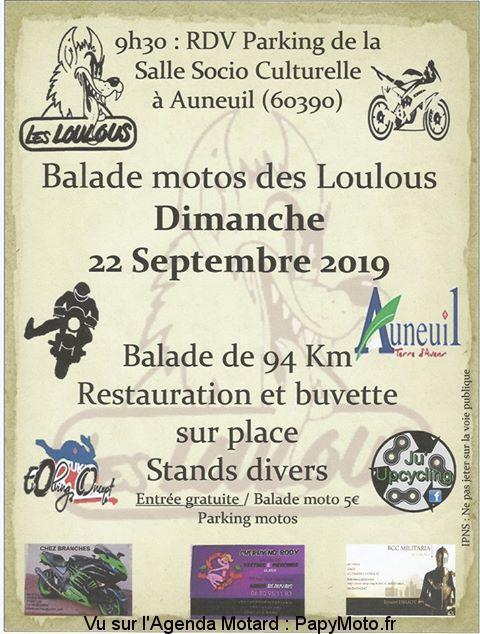 MANIFESTATION - Balade Motos Des Loulous - 22 Septembre 2019 - Auneuil  (60390) Balad109